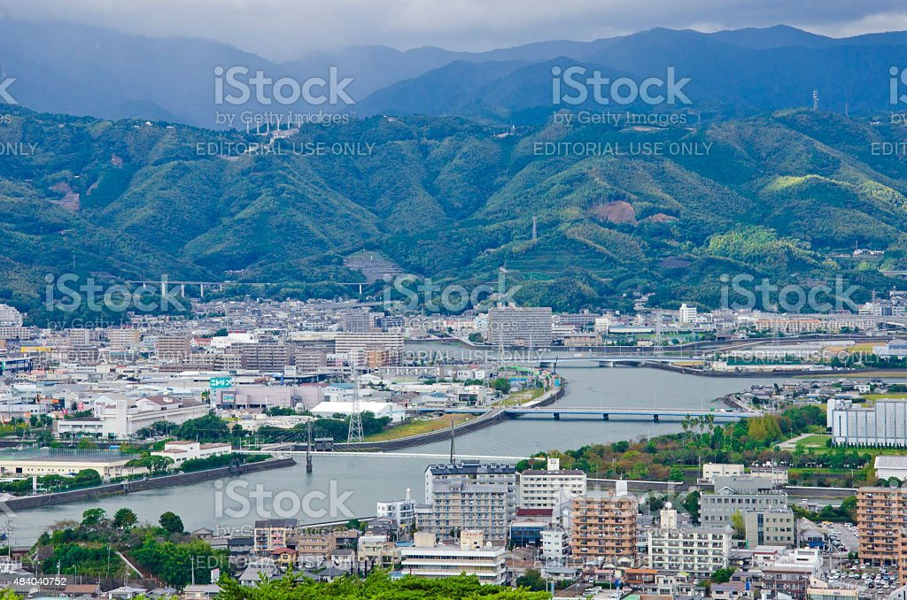 Panorama of Kochi,Shikoku, Japan stock photo