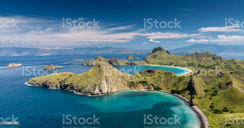 Panorama of Komodo National Park in Flores island stock photo