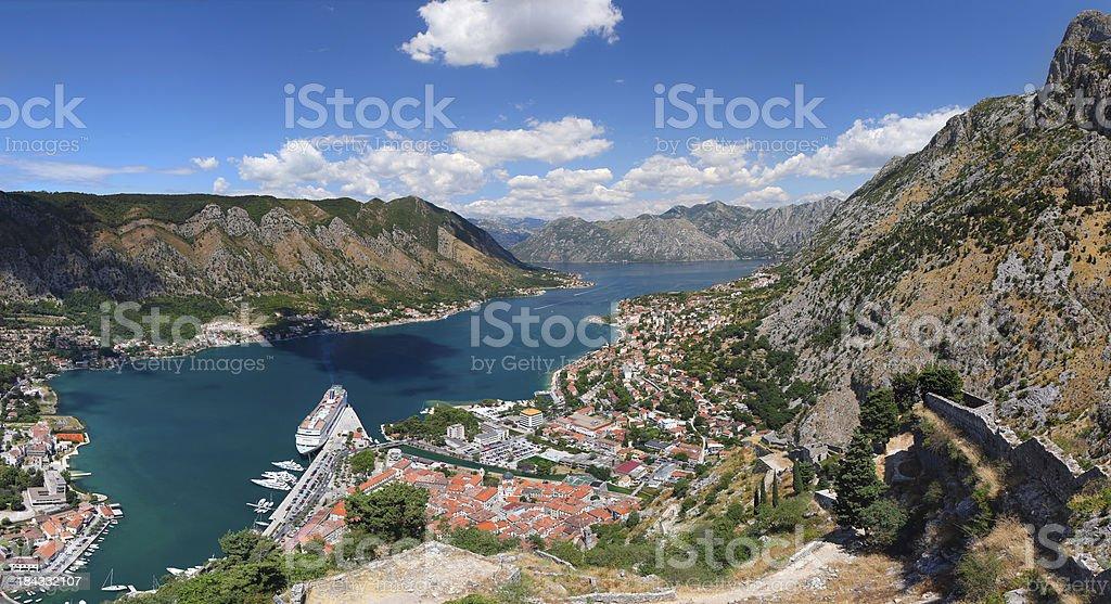 Panorama of Kotor bay in Montenegro stock photo