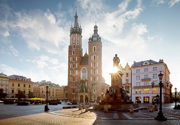 Panorama of Krakow Main Square, Poland stock photo