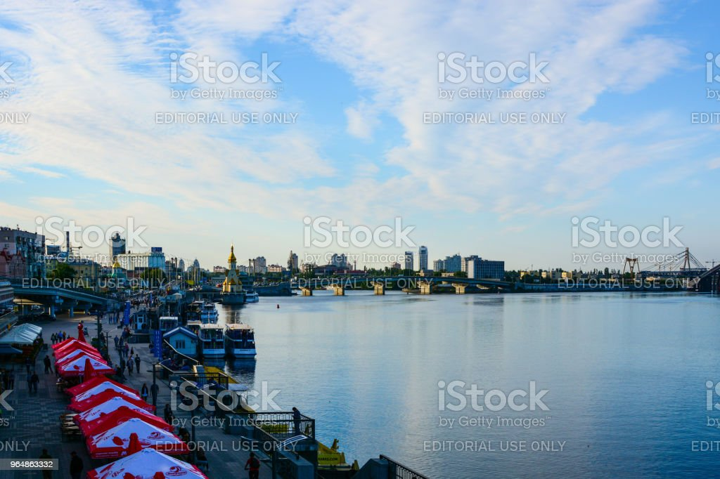 Panorama of Kyiv, Ukraine. Dnipro river and Kyiv River Port waterfront royalty-free stock photo