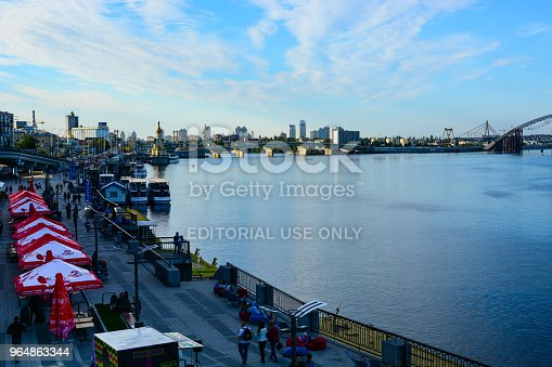 Panorama Of Kyiv Ukraine Dnipro River Podilskovoskresensky Bridge And Kyiv River Port Waterfront Stock Photo & More Pictures of April