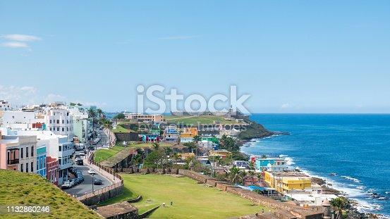 Panorama of La Perla slum in old San Juan, Puerto Rico