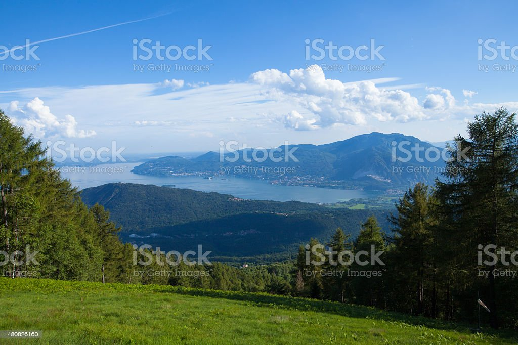 Panorama of Lago Maggiore from Val Grande National park stock photo