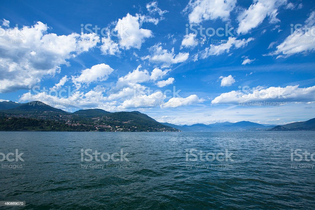 Panorama of Lago Maggiore from water stock photo