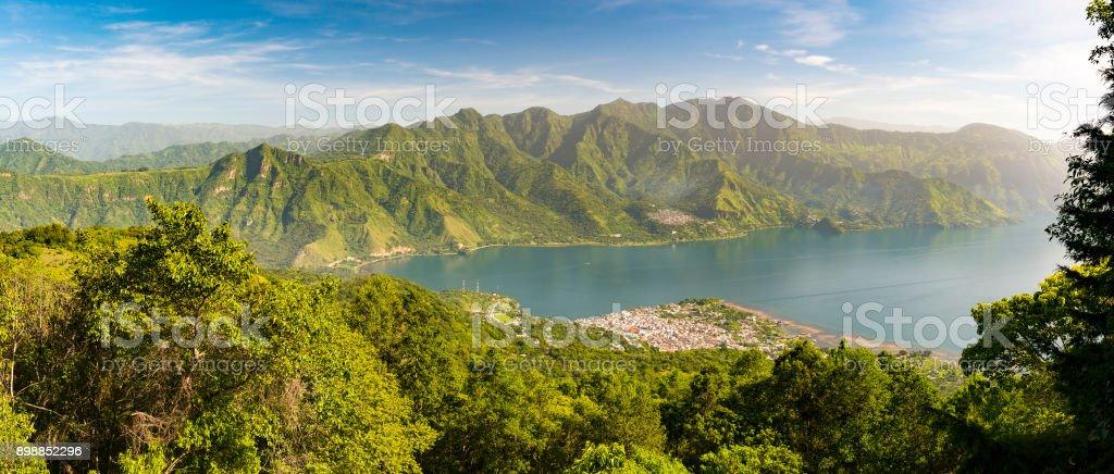 Panorama Of Lake Atitlan stock photo