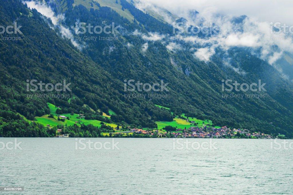 Panorama of Lake Brienz and Brienzer Rothorn mountain Bern Switzerland stock photo