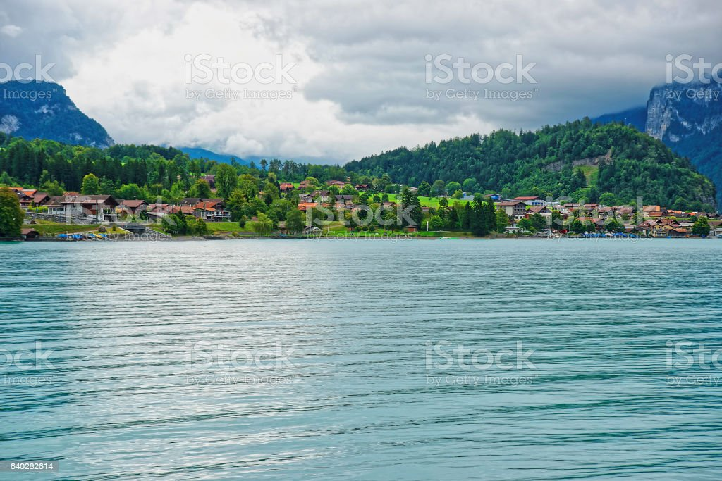 Panorama of Lake Brienz and Brienzer Rothorn mountain Bern Swiss stock photo