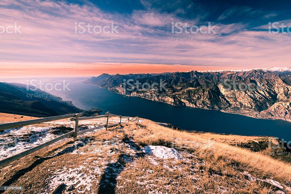 Panorama of Lake Garda seen from Mount Baldo, Italy. stock photo