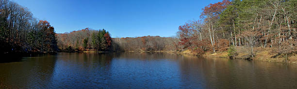 Panorama of Lake in Brown County Indiana during Autumn stock photo
