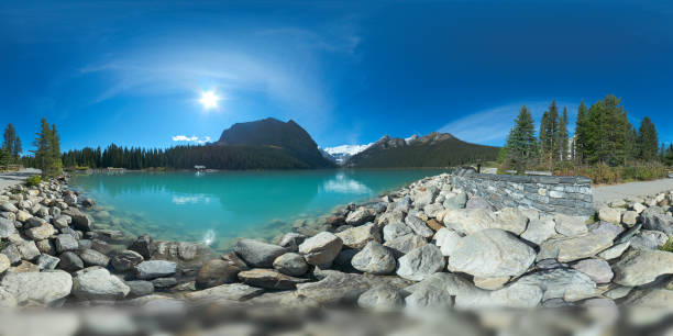 Panorama of Lake Louise, britiish columbia, Canada, 2015 equirectangular panorama of Lake Louise on a bright sunlit summer day with turquoise green water, seen from the lake shore valley of the ten peaks stock pictures, royalty-free photos & images
