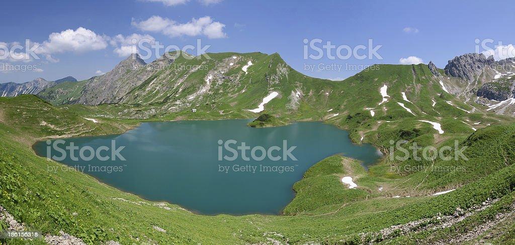 Panorama of Lake Schrecksee stock photo