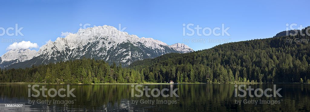 Panorama of Lautersee Lake and Wetterstein Mountains, Alps, Bavaria, Germany royalty-free stock photo