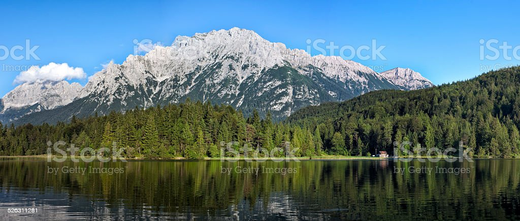 Panorama of Lautersee Lake and Wetterstein Mountains, Alps, Bavaria, Germany stock photo