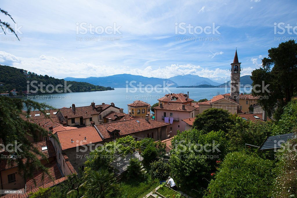 Panorama of Laveno town on Lago Maggiore from the hill stock photo