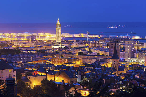 Panorama of Le Havre at night Panorama of Le Havre at night. Le Havre, Normandy, France. le havre stock pictures, royalty-free photos & images
