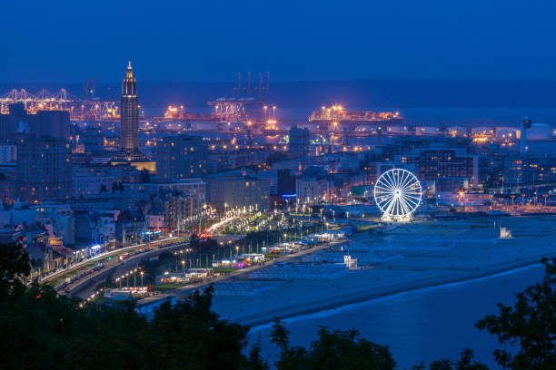 Panorama of Le Havre at night Panorama of Le Havre at night. Le Havre, Normandy, France le havre stock pictures, royalty-free photos & images