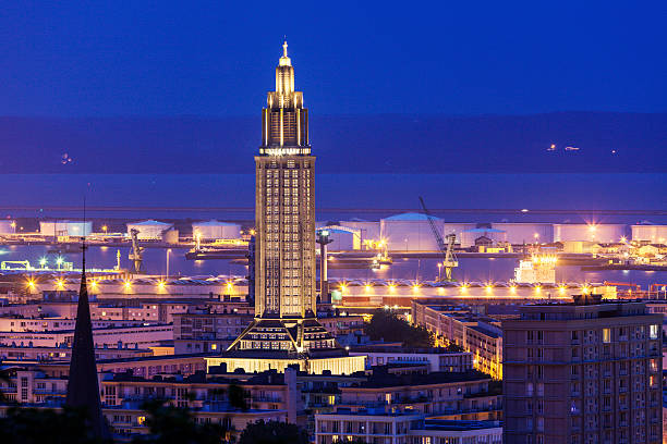 Panorama of Le Havre Panorama of Le Havre at night. Le Havre, Normandy, France le havre stock pictures, royalty-free photos & images