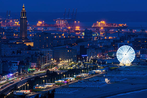 Panorama of Le Havre Panorama of Le Havre at night. Le Havre, Normandy, France. le havre stock pictures, royalty-free photos & images