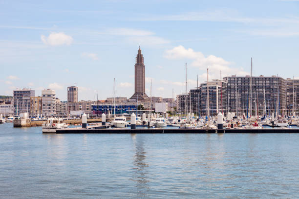 Panorama of Le Havre with St Joseph's Church stock photo
