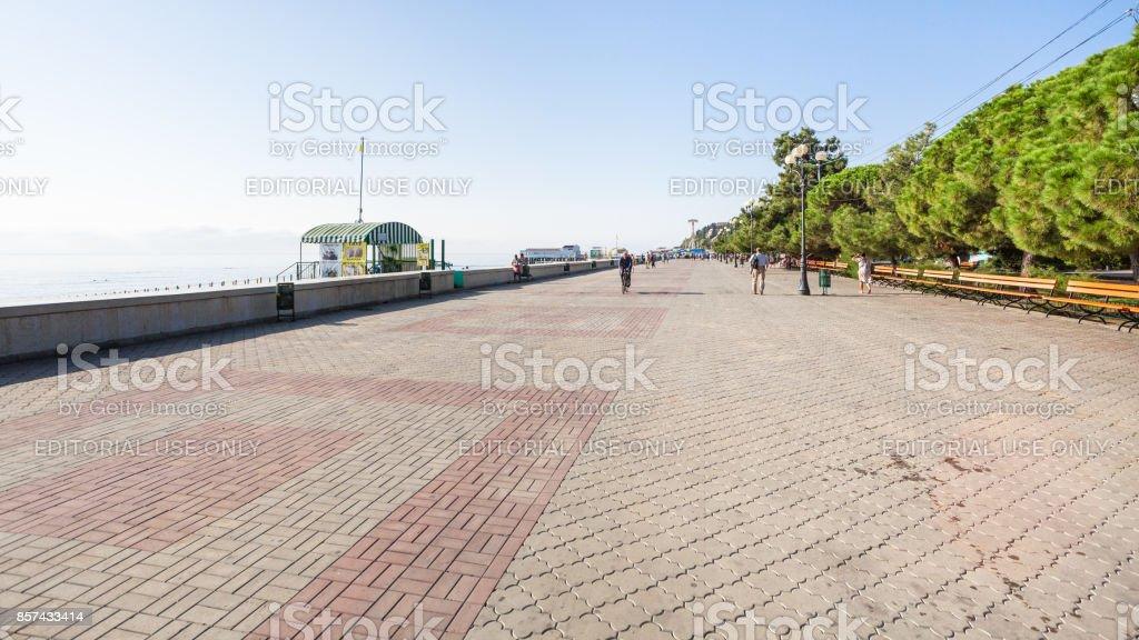panorama of Lenin Street Embankment in Alushta stock photo