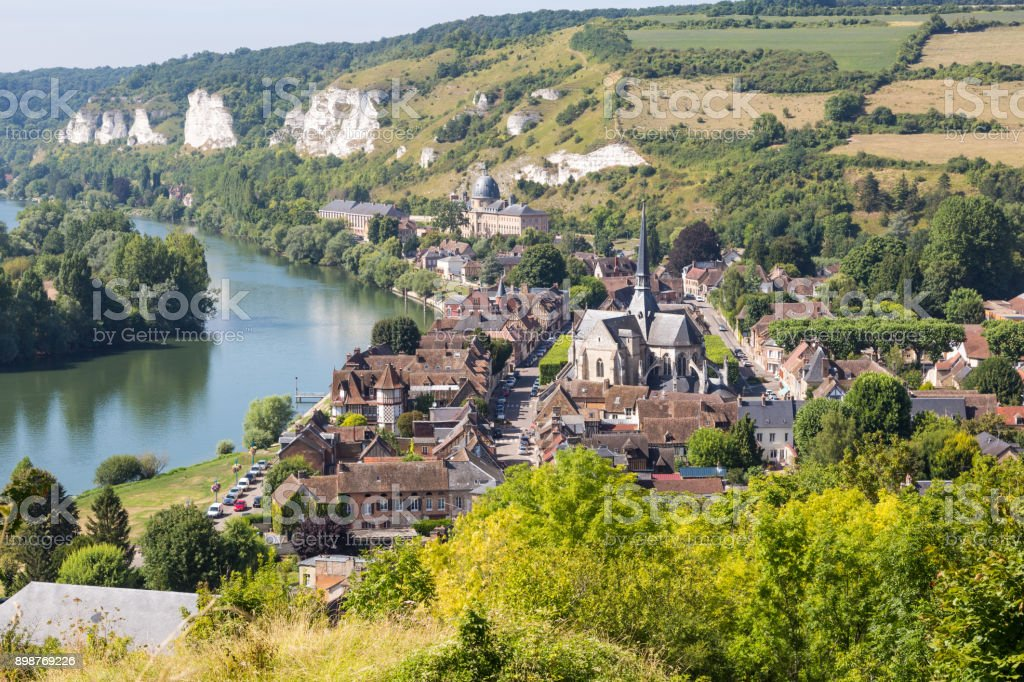 Panorama of Les Andelys, Normandie, France stock photo