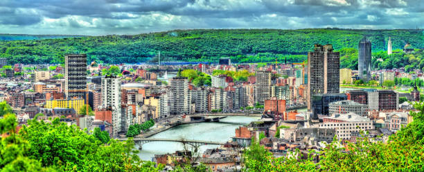 Panorama of Liege, a city on the banks of the Meuse river in Belgium Panorama of Liege, a city on the banks of the Meuse river in Belgium, Europe lulik stock pictures, royalty-free photos & images
