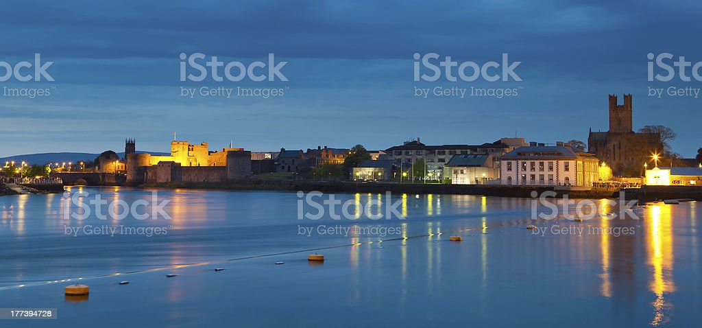 Panorama of Limerick city at dusk stock photo