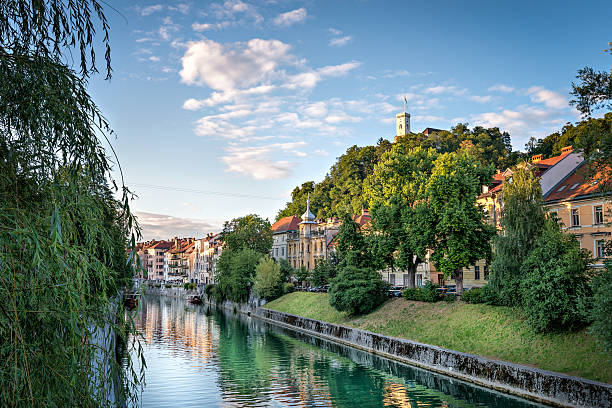 Panorama of Ljubljana Castle, Slovenia, Europe. Cityscape of the Slovenian capital Ljubljana. ljubljana castle stock pictures, royalty-free photos & images