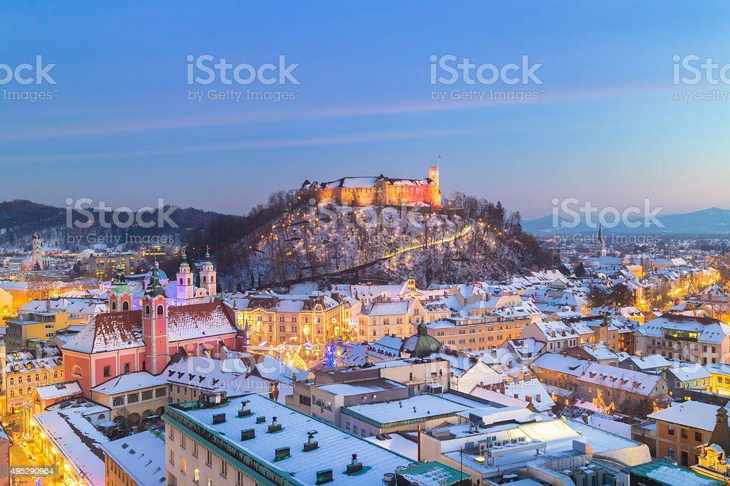 Panorama von Ljubljana im winter.   Slowenien, Europa. - Lizenzfrei 2015 Stock-Foto