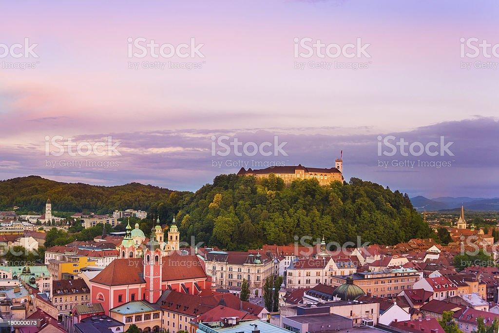 하늘에서 Ljubljana, Slovenia, 유럽. royalty-free 스톡 사진