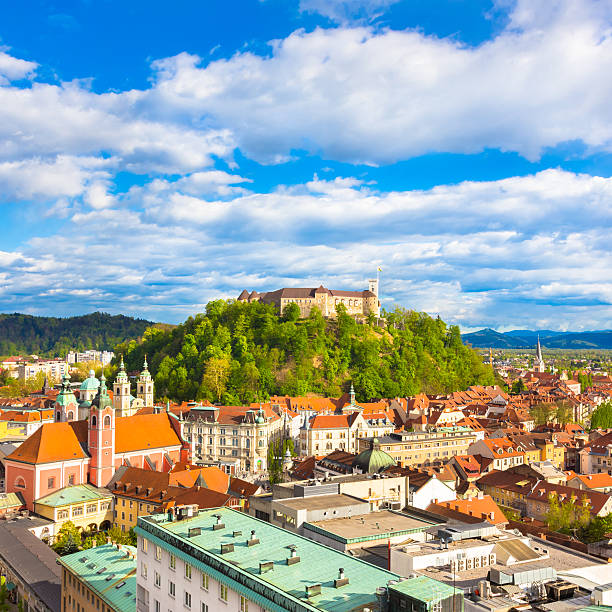 Panorama of Ljubljana, Slovenia, Europe. Panorama of the vibrant Slovenian capital Ljubljana in afternoon sun. ljubljana castle stock pictures, royalty-free photos & images