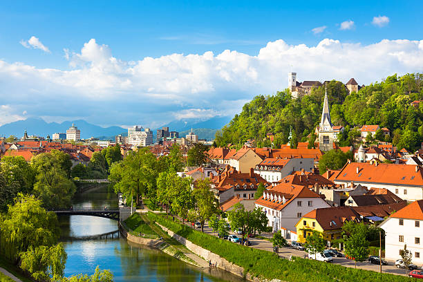 Panorama of Ljubljana, Slovenia, Europe. Cityscape of the Slovenian capital Ljubljana at sunset. ljubljana castle stock pictures, royalty-free photos & images