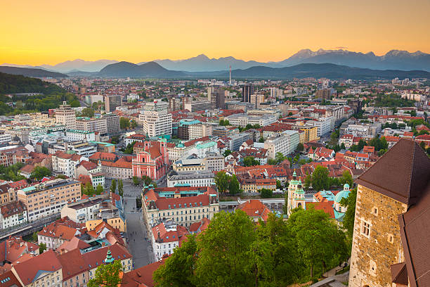 Panorama of Ljubljana, Slovenia, Europe. Panorama of the Slovenian capital Ljubljana at sunset. Alps mountains ljubljana castle stock pictures, royalty-free photos & images