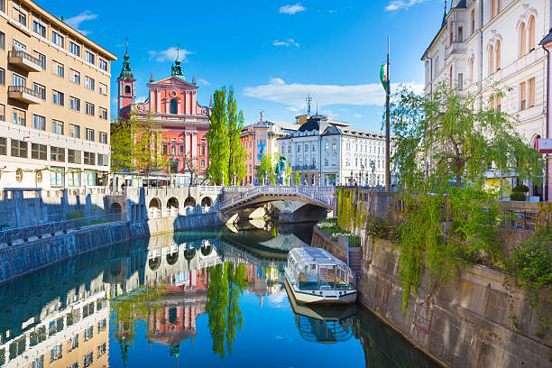 Panorama of Ljubljana, Slovenia, Europe. Panorama of the Slovenian capital Ljubljana, Europe ljubljana castle stock pictures, royalty-free photos & images