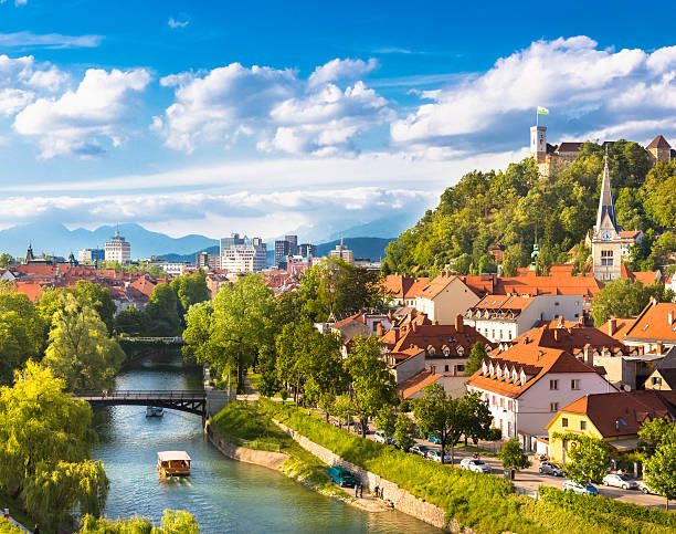 Panorama of Ljubljana, Slovenia, Europe. Cityscape of the Slovenian capital Ljubljana. ljubljana castle stock pictures, royalty-free photos & images