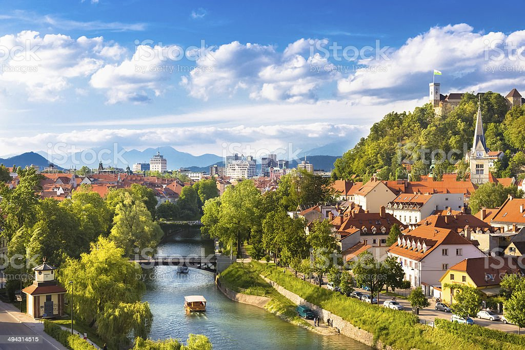 Panorama of Ljubljana, Slovenia, Europe. Cityscape of the Slovenian capital Ljubljana. Aerial View Stock Photo