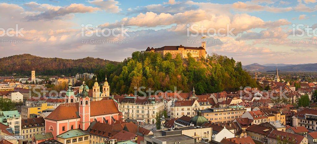 Panorama of Ljubljana, Slovenia, Europe. stock photo