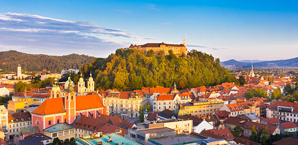 Panorama of Ljubljana, Slovenia, Europe. Panorama of the Slovenian capital Ljubljana at sunset. ljubljana castle stock pictures, royalty-free photos & images