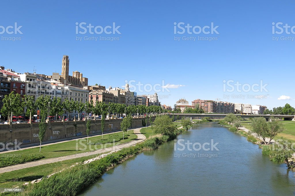 Panorama of Lleida. Catalonia, Spain. stock photo