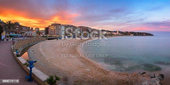 istock Panorama of Lloret de Mar Seafront in the Evening, Lloret de Mar, Catalonia, Spain 689015116