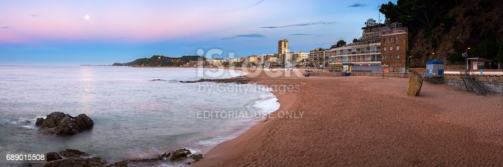 istock Panorama of Lloret de Mar Seafront in the Morning, Lloret de Mar, Catalonia, Spain 689015508
