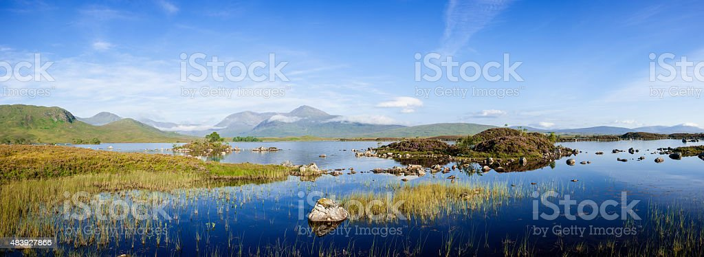 Panorama of Lochan na h'Achlaise on an August morning stock photo