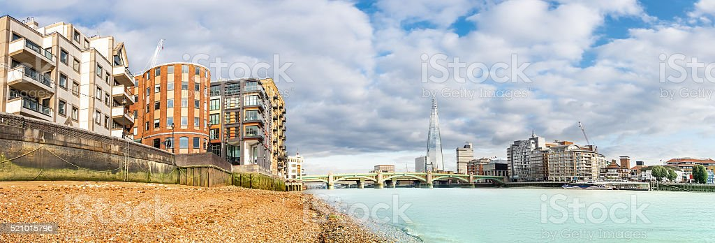 Panorama of London Thames from the shore stock photo