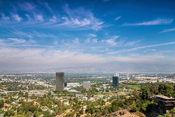 panorama of los angeles county - san fernando valley stock photos and pictures