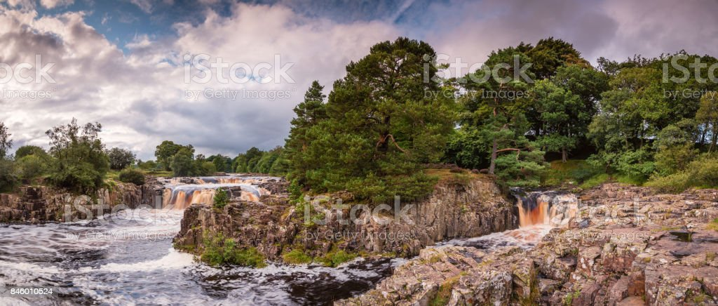 Panorama of Low Force Waterfalls stock photo