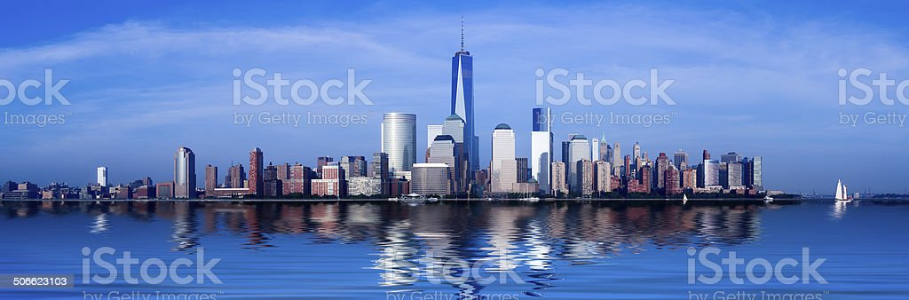 Panorama of Lower Manhattan at dusk stock photo