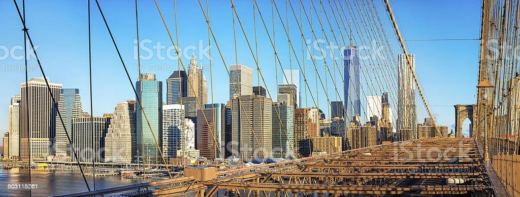 Panorama of Lower Manhattan from Brooklyn Bridge, New York City royalty-free stock photo