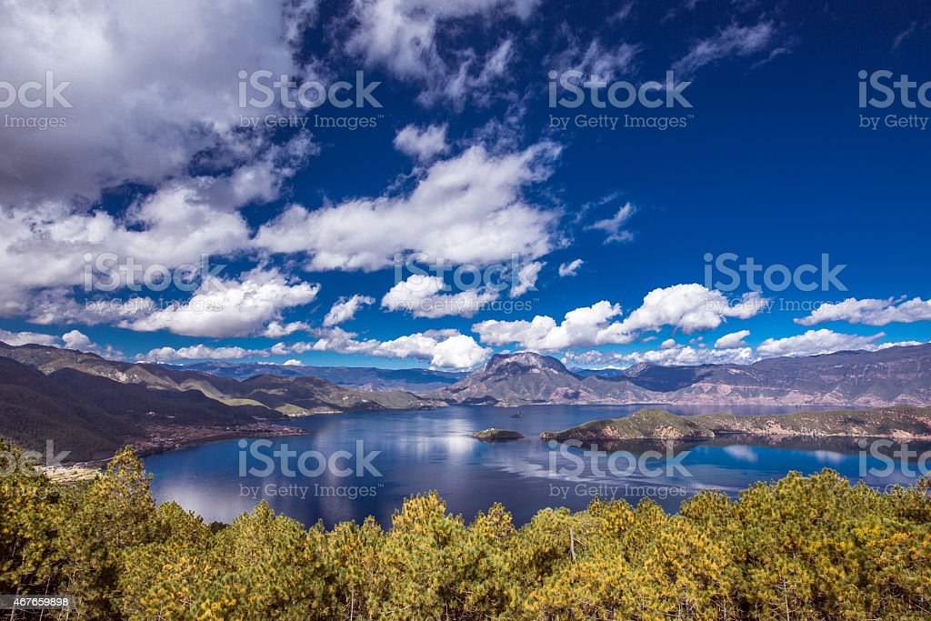 Panorama of Lugu lake stock photo