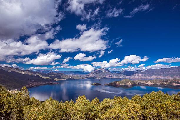Panorama of Lugu lake stock photo